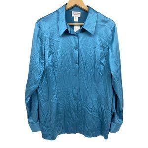 NWT Pendleton Silk Blouse Long Sleeve Women's 18